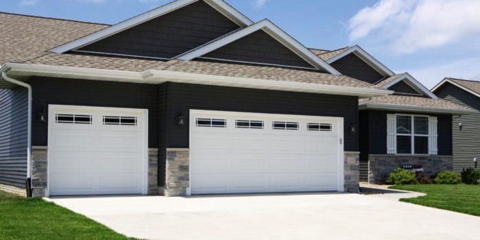 white steel garage doors with windows