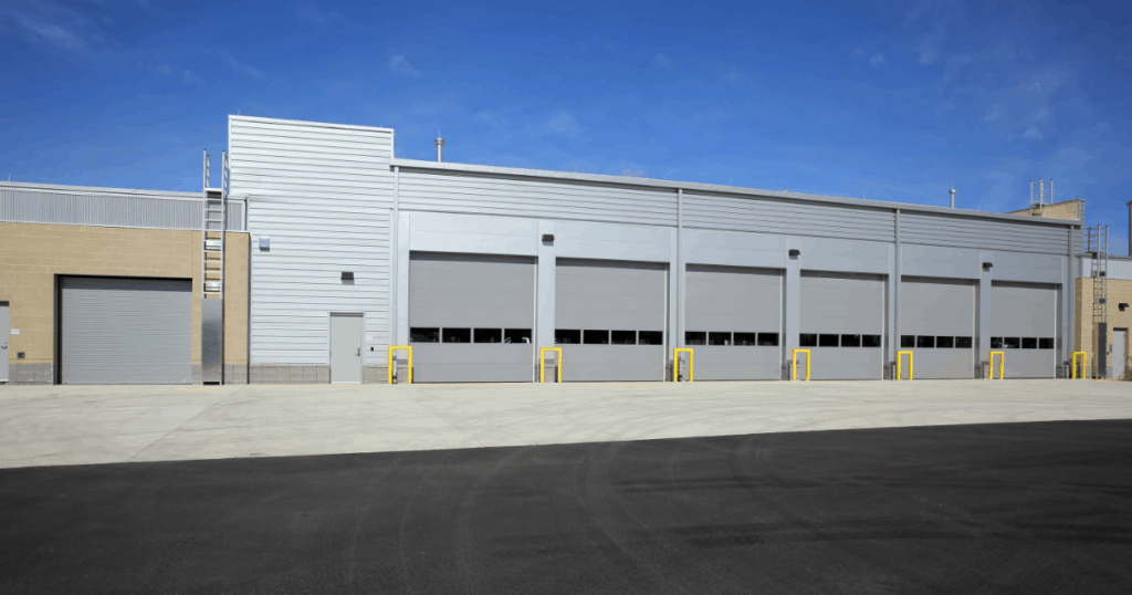 garage doors on a commercial building