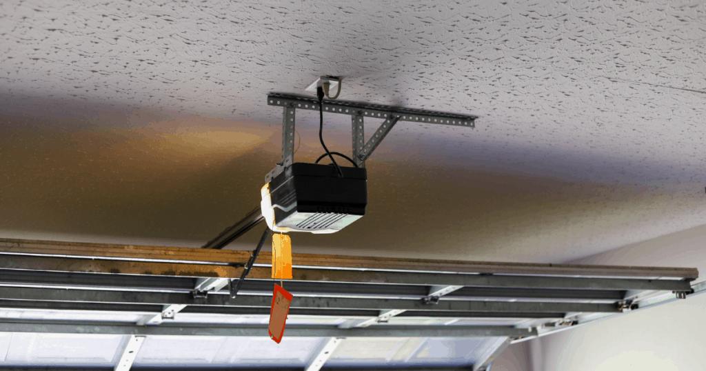 garage door opener mounted on garage ceiling